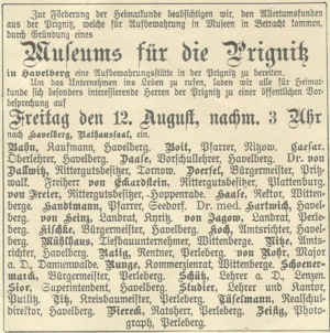 Aufruf zur Gründung des Prignitz-Museums in Havelberg