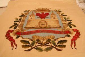 Restaurierte Fahne der Schützengilde